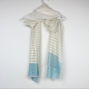Cole Haan l scarf frayed striped white teal dipped